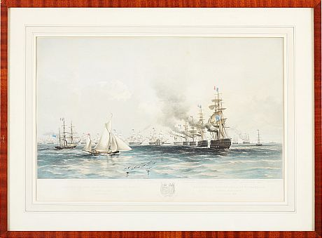 Lithograph naval plate Baro Sound 1854